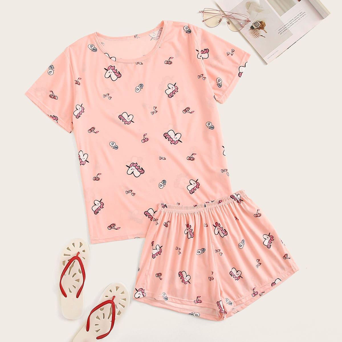 Pajama Set mit Einhorn und Kirsche Muster