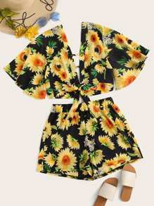Plus Sunflower Print Tie Front Top With Shorts