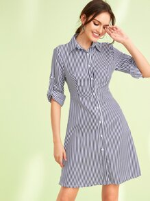 Button Front Roll Up Sleeve Striped Shirt Dress