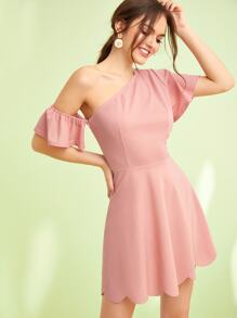 One Shoulder Butterfly Sleeve Scalloped Edge Dress
