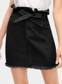Tie Waist Raw Hem Ruffle Denim Skirt