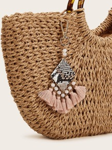 Tassel & Bead Charm Snakeskin Pattern Bag Accessory
