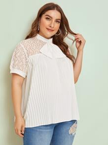 Plus Lace & Mesh Insert Tie Neck Pleated Blouse