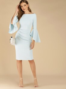 Solid Flounce Sleeve Boat Neck Bodycon Dress