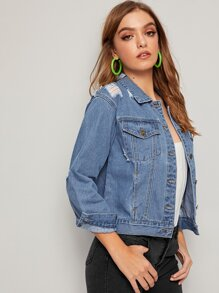 Topstitching Ripped Dual Pocket Denim Jacket