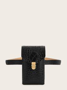 Croc Embossed Push Lock Bum Bag