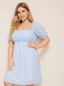 Plus Frill Trim High Waist Schiffy Dress