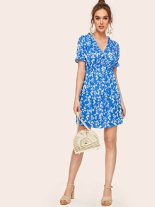 Frill Trim Ditsy Floral Dress