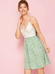 Tie Back Lace Panel Ditsy Floral Cami Dress