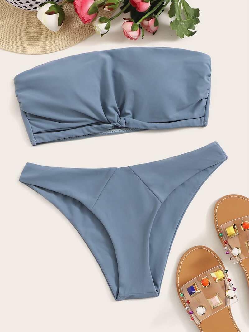 10d342b2b Set de bikini bandeau fruncido girante con bragas