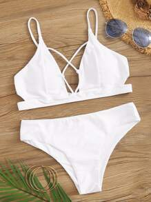 Criss Cross Seam Top With Panty Bikini Set
