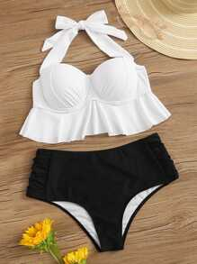Ruffle Bustier Top With Ruched High Waist Bikini