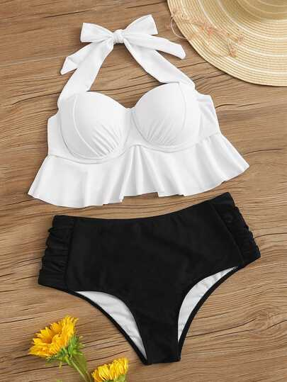 b5ac273a54 Ruffle Bustier Top With Ruched High Waist Bikini