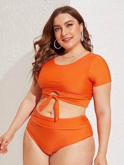 7189b6941b Plus Neon Orange Keyhole Short Sleeve Bikini Set
