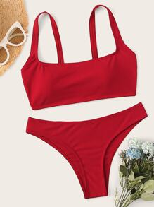 Square Neck Top With Cheeky Bikini Set