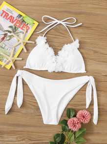 Appliques Triangle Top With Tie Side Bikini Set