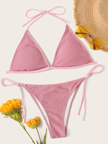 Glitter Triangle Top With Tie Side Bikini Set