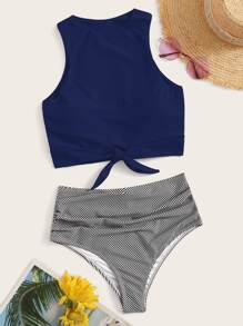 Knot Hem Top With Striped Bikini Set