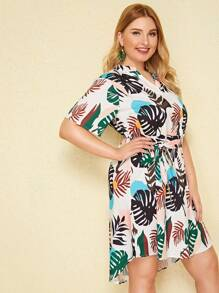 Plus Palm Tree Print High Low Belted Dress