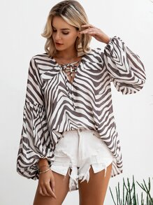 Simplee Zebra Print Lace Up Bishop Sleeve Top
