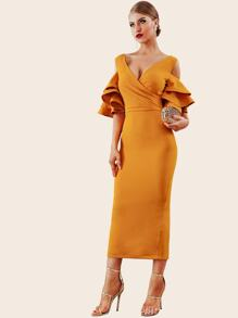 Adyce Cold Shoulder Layered Ruffle Slit Hem Dress