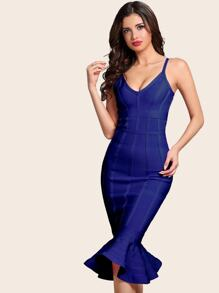 Adyce Zip Back Fishtail Hem Midi Bandage Dress