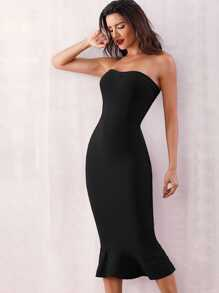Adyce Zip Back Fishtail Hem Bandage Tube Dress