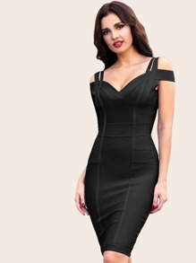 Adyce Cold Shoulder Sweetheart Neck Bandage Dress
