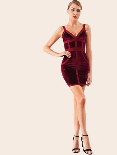 Adyce Zip Back Bustier Velvet Bandage Dress