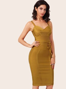 Adyce Zip Back Belted Midi Bandage Dress