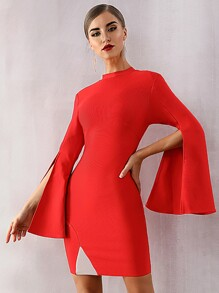 Adyce Split Flounce Sleeve Bodycon Dress