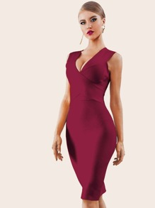 Adyce Zip Back Plunge Neck Bandage Dress