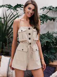 Simplee Button Front Drawstring Waist Utility Cami Romper