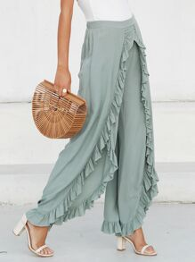 Simplee Slit Hem Ruffle Trim Wide Leg Pants