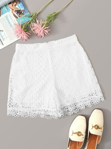 Zip Back Guipure Lace Straight Leg Shorts