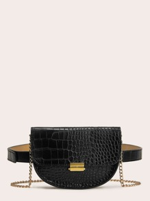 Croc Embossed Saddle Bum Bag