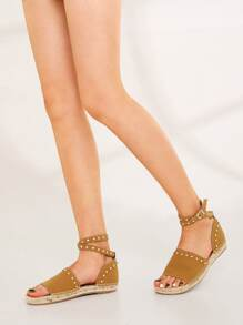 Studded Ankle Strap Espadrille Sandals