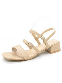 Buckle Strap Open Toe Chunky Sandals