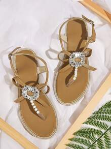 Faux Pearl Decor Toe Post Sandals