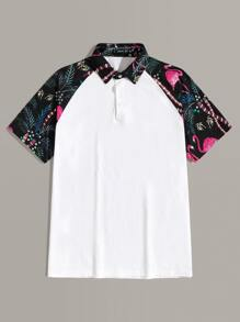 Men Tropical Print Raglan Sleeve Polo Shirt