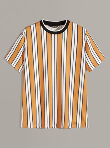 Men Contrast Neck Striped Top