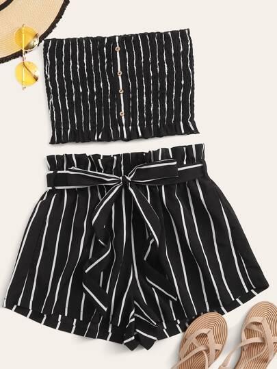 713e59b4e895 Buttoned Shirred Striped Bandeau & Paperbag Waist Shorts Set