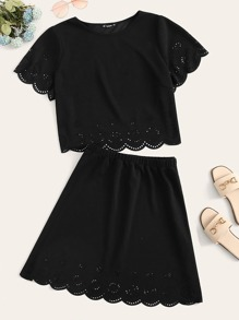 Plus Scallop Edge Laser Cut Top and Skirt Set