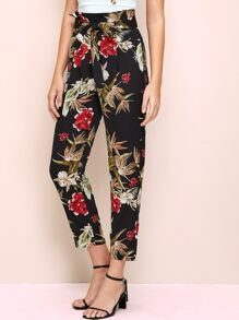 High Waist Tapered Tropical Pants With Belt