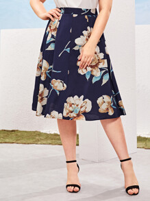 Plus Floral Print Boxy Pleated Skirt