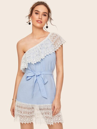 One Shoulder Guipure Lace Belted Dress