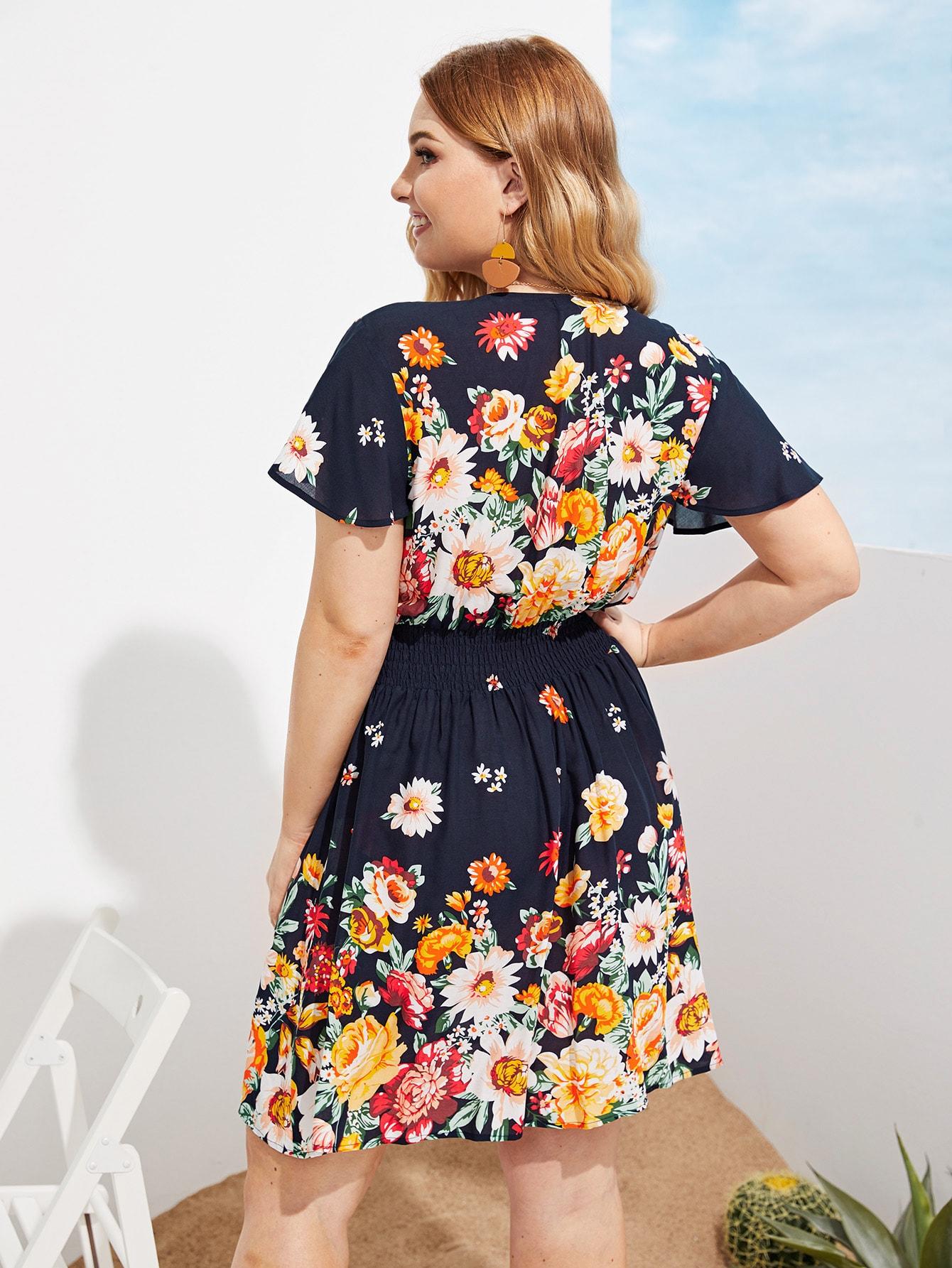 Übergroßes Kleid mit V Ausschnitt und Blumen Muster | SHEIN