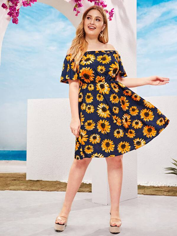 Plus Off Shoulder Sunflower Print Flutter Sleeve Dress