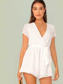Surplice Neck Belted Swiss Dot Romper