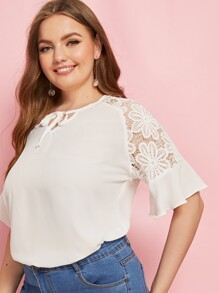 Plus Contrast Lace Tie Neck Blouse